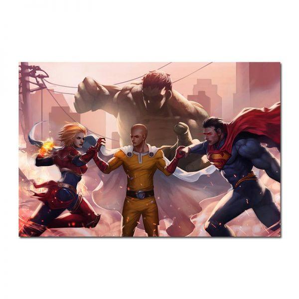 Poster Toile One Punch Man Saitama vs Superman 30x45cm Official Dr. Stone Merch