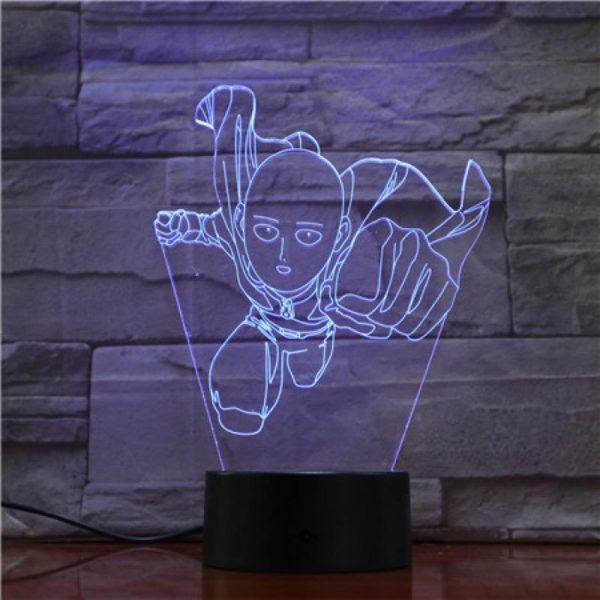 Lampe LED 3D One Punch Man Super Saitama Lampe   Câble Usb   Télécommande Official Dr. Stone Merch