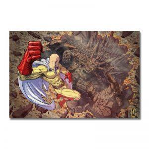 Poster Toile One Punch Man Saitama vs Monstre Saison 2 30x45cm Official Dr. Stone Merch