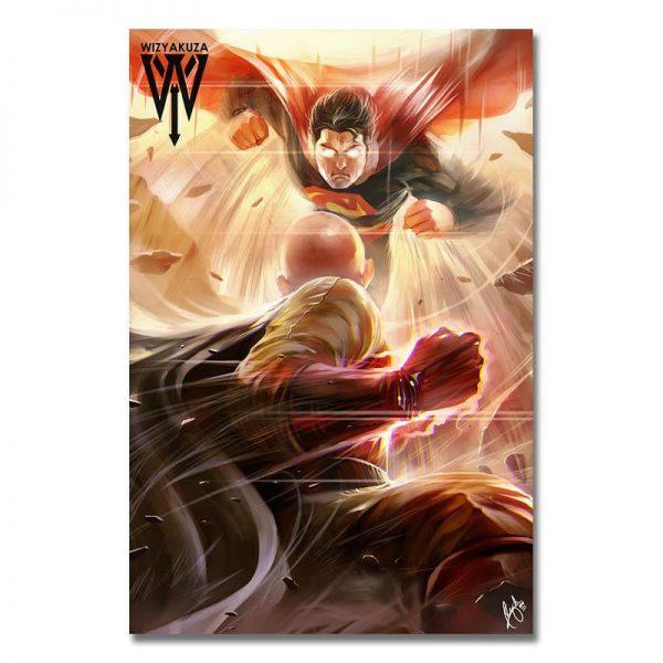 Poster Toile One Punch Man Saitama vs Superman 20x30cm Official Dr. Stone Merch