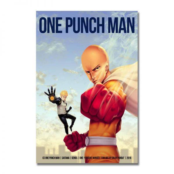 Poster Toile One Punch Man Saitama Genos Fan Art 30x45cm Official Dr. Stone Merch
