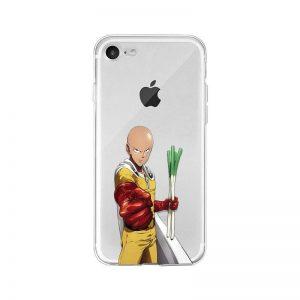 Coque transparente One Punch Man iPhone Saitama Poireaux Iphone 4s Official Dr. Stone Merch