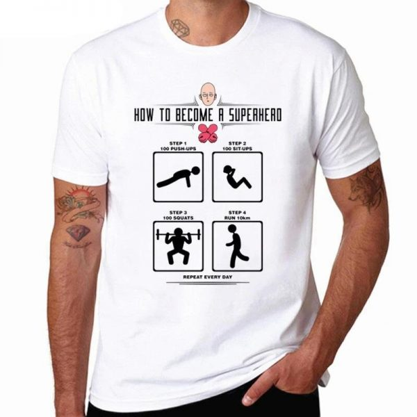 T-Shirt One Punch Man Saitama devenir un Super héros S Official Dr. Stone Merch