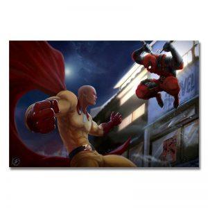 Poster Toile One Punch Man Saitama vs DeadPool 20x30cm Official Dr. Stone Merch