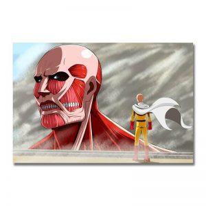 Poster Toile One Punch Man Saitama vs Le Titan Colossal Attaque des Titans 30x45cm Official Dr. Stone Merch