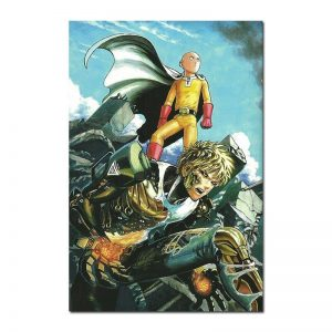 Poster Toile One Punch Man Saitama & Genos Combat 30x45cm Official Dr. Stone Merch