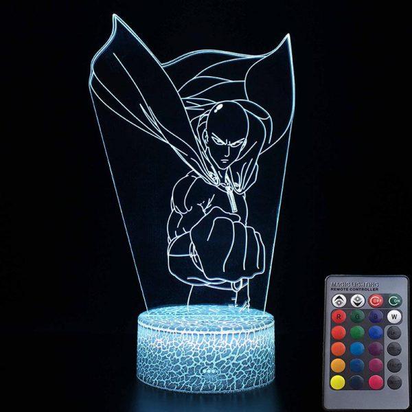 Lampe LED 3D One Punch Man Saitama Poing Serré (16cm) Lampe   Câble Usb   Télécommande Official Dr. Stone Merch