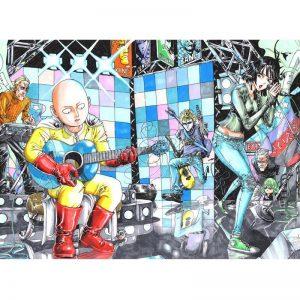Poster One Punch Man Héros Rockstar 40x50 cm Official Dr. Stone Merch