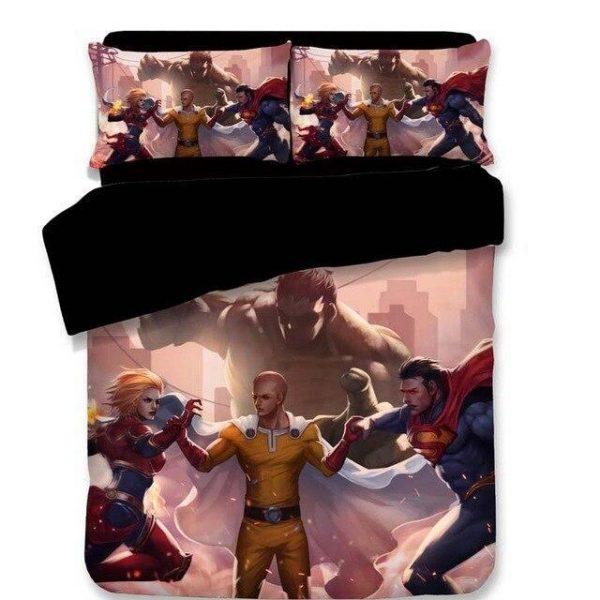 Housse de couette One Punch Man Saitama vs Superman & Hulk 140x210cm Official Dr. Stone Merch