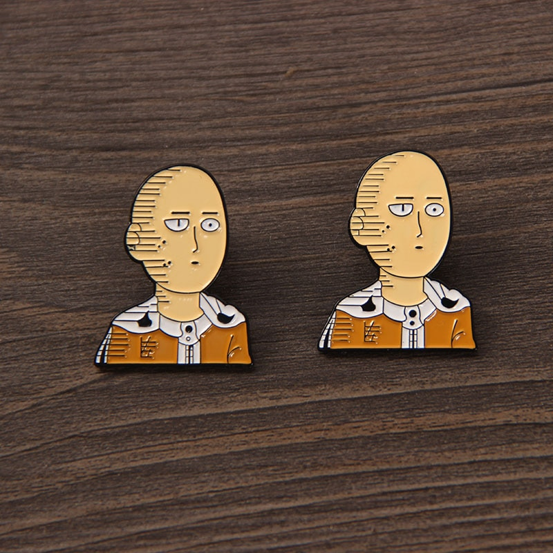 1 Pcs New Anime ONE PUNCH MAN Saitama Genos Cosplay Brooch Pins Enamel Metal Badges Lapel Pin for Bag Clothes Figure Toys Gifts