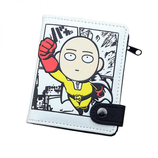 Anime One Punch Man PU White Zero Wallet Coin Purse with Interior Zipper Pocket - One Punch Man Store